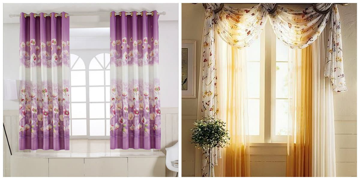 curtains in rustic style, floral curtains in rustic style