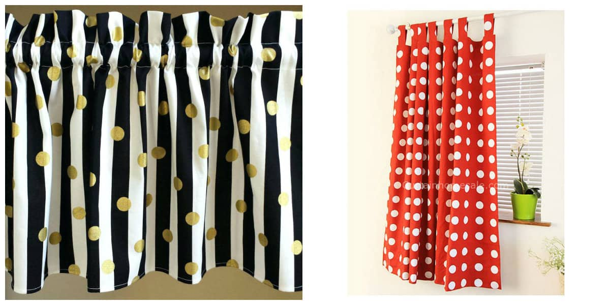 curtains in rustic style, curtains with polka dots in rustic style