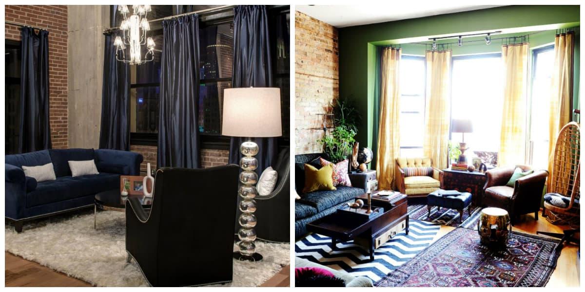 loft curtains, loft style curtains in loft living room