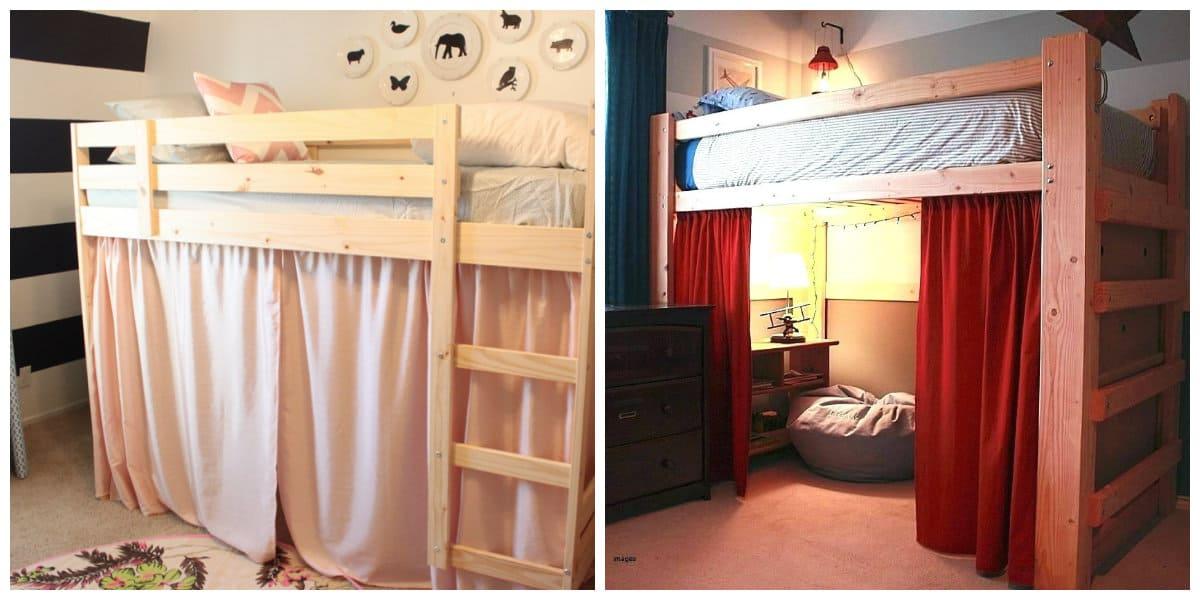 loft curtains, loft bed curtains in loft style interior design