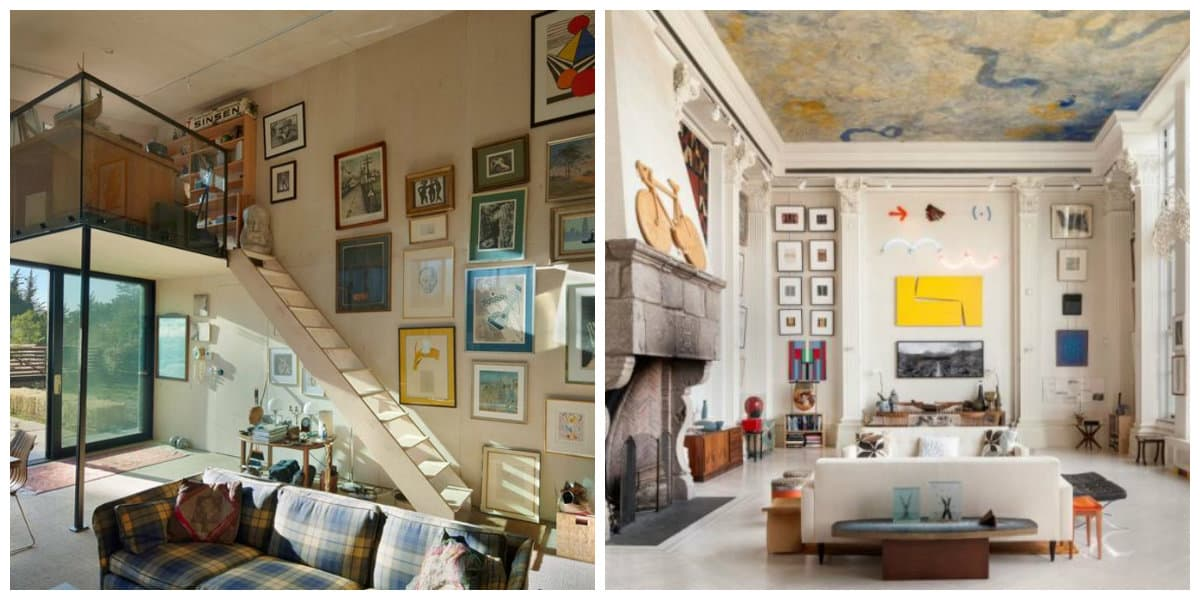loft style apartment, paintings in loft style apartment interior design