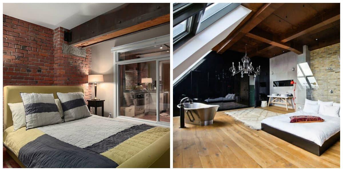 loft style bedroom, internal window in loft style bedroom, bath in bedroom in loft style bedroom