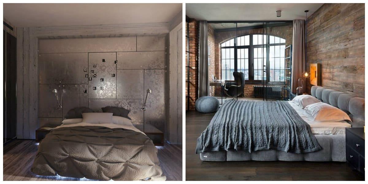 loft style bedroom, minimalism in loft style bedroom