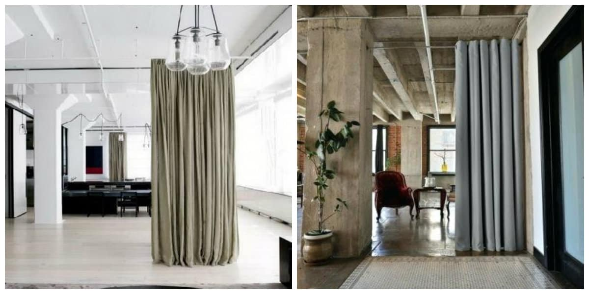 loft style curtains, divider of rooms with loft style curtains