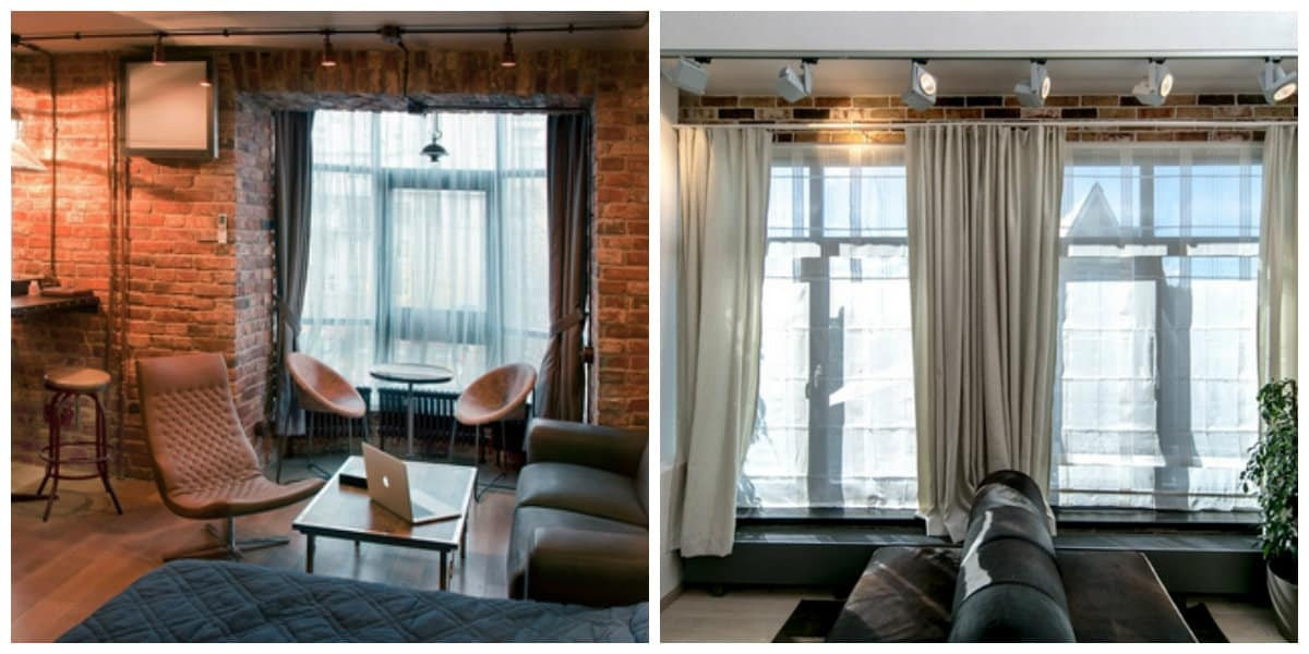 loft style curtains, characteristics and design ideas for curtains in loft style