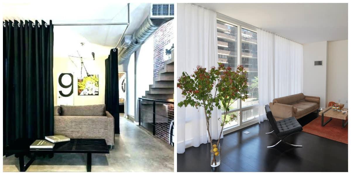 loft style curtains, stylish Roman loft style curtains