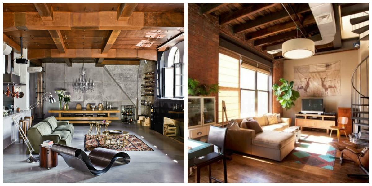 loft style room, ceiling design in loft style room