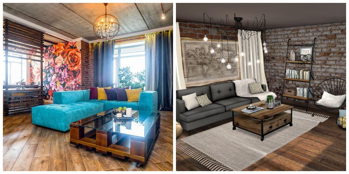 loft style room, stylish furniture in loft style room