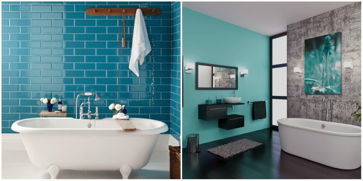 Bathroom trends 2019: Bathroom design in blue tiles