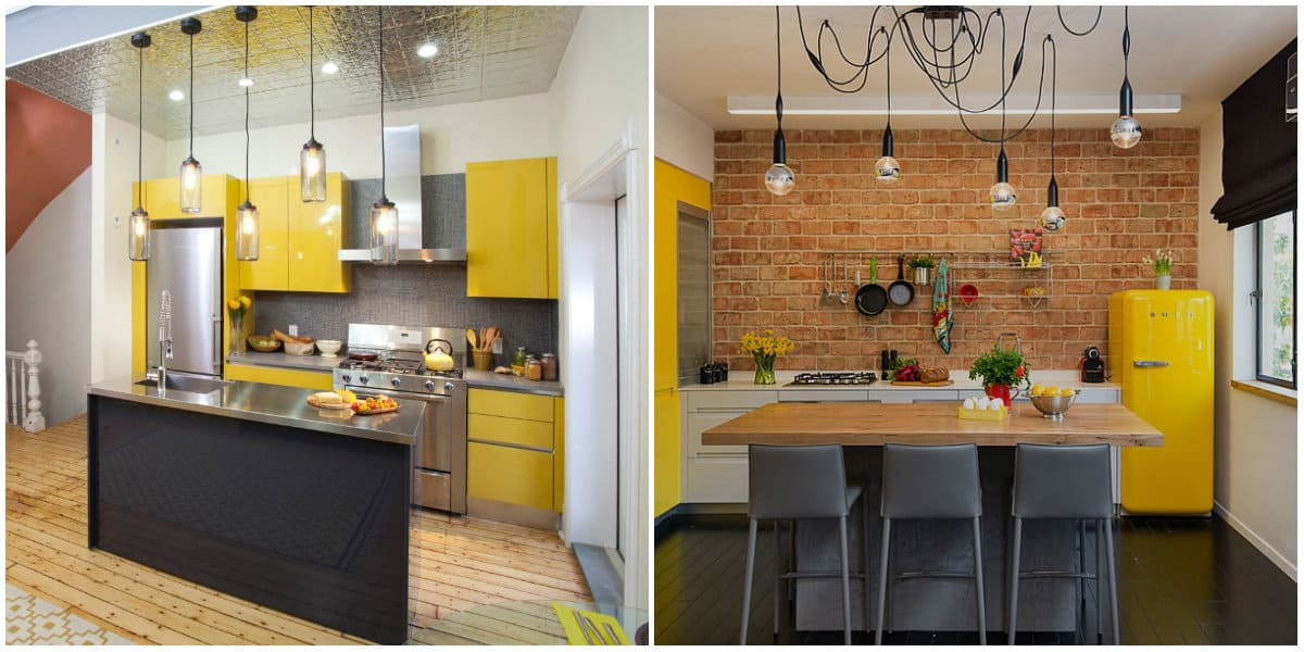 Small kitchen designs 2019: Living room-kitchen in yellow