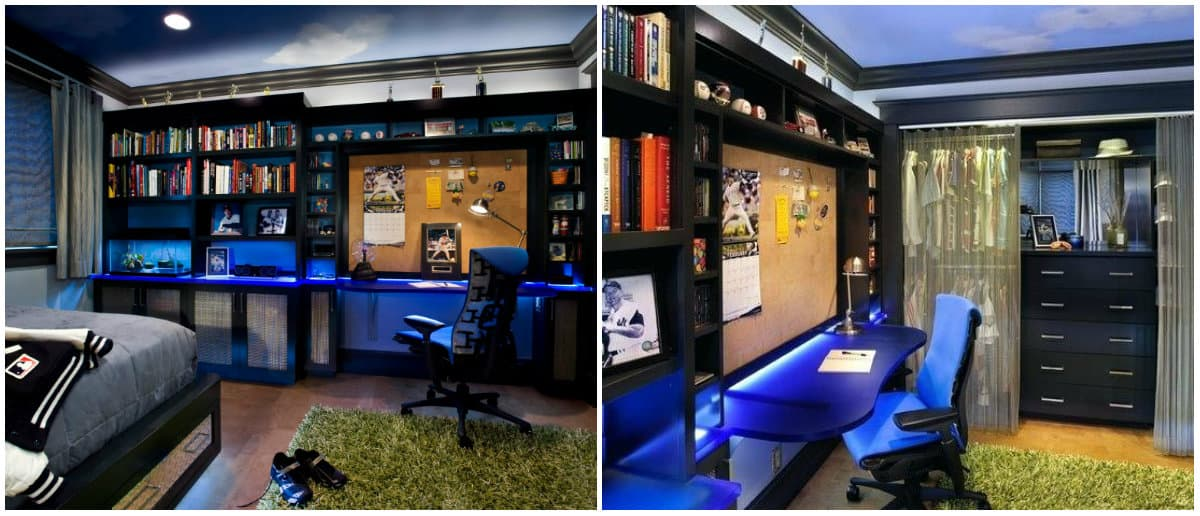 Teen room 2019: Teen room for boy: Electric blue high-tech design
